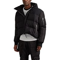 Unravel Oversized Down Quilted Silk Hooded Puffer Jacket Black