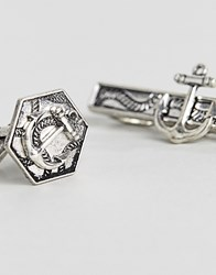 Asos Gift Set With Cufflinks And Tie Bar With Nautical Design Silver