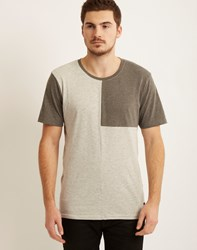 Only And Sons Mens O Neck Regular Fit T Shirt With Cut And Sew Panels Grey