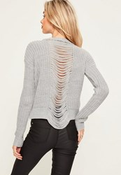 Missguided Grey Marl Distressed Back Jumper