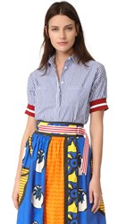 Stella Jean Short Sleeve Striped Shirt Multi Color