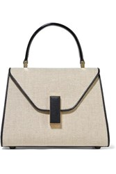 Valextra Iside Mini Linen And Textured Leather Shoulder Bag Beige