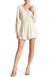 Astr Embroidered Bell Sleeve Romper White