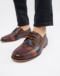 Asos Design Lace Up Shoes In Brown Leather With Colour Woven Detail Tan