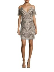 Aidan Mattox Beaded Cocktail Dress Champagne