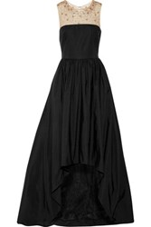 Marchesa Notte Tulle Trimmed Embellished Cotton Blend Gown Black
