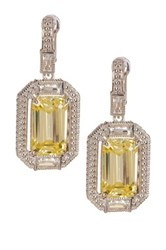 Judith Ripka Sterling Silver Avery Baguette Wrap Emerald Cut Canary Crystal Drop Earrings Yellow