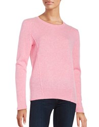 Lord And Taylor Seam Accented Cashmere Pullover Sweater Serene Pink Heather