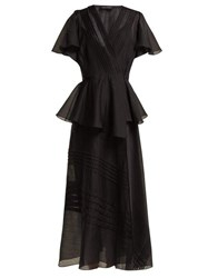Anna October Pleated Organza Wrap Midi Dress Black