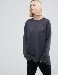 Asos Long Sleeve Longline T Shirt Charcoal Grey