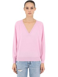 Luisa Via Roma V Neck Cashmere Knit Sweater Pink