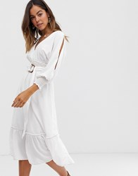 Moon River Belted Midi Dress White