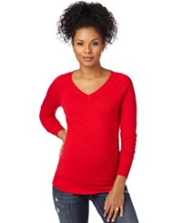Motherhood Maternity V Neck Ruched Sweater Barbados Cherry