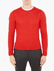 Neil Barrett Red Cable Knit Wool Sweater