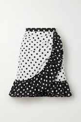 Rodarte Ruffled Polka Dot Twill Mini Skirt White