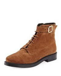 Tod's Lace Up Suede Combat Boot Brown