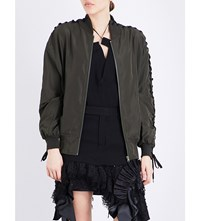 A.F.Vandevorst Lace Up Sleeves Satin Bomber Jacket Army