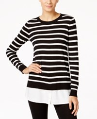G.H. Bass And Co. Striped Layered Look Sweater Black Combo
