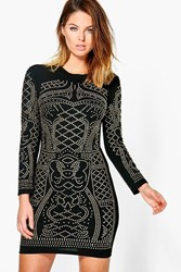 Boohoo Amita Studded Long Sleeve Bodycon Dress Black