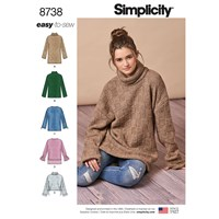 Simplicity Misses' Sweater Sewing Pattern 8738 Xxs Xxl