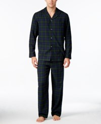 Club Room Men's Big And Tall Plaid Flannel Pajama Set Only At Macy's Blackwatch