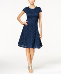 Alfani Petite Lace Fit And Flare Dress Only At Macy's Modern Navy