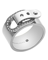 Michael Kors Pave Buckle Ring Silver