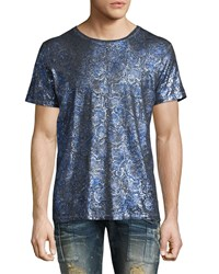 Robin's Jeans Painted Crewneck T Shirt Blue Silver