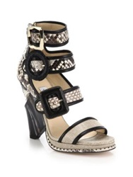 Jimmy Choo Snakeskin Leather And Linen Cutout Wedge Sandals Beige Black