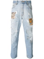 History Repeats Tiger Embroidered Distressed Jeans Blue