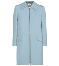 Miu Miu Wool Blend Coat Blue
