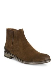 John Varvatos Suede And Leather Slip On Boots Antique