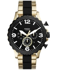 Fossil Men's Chronograph Nate Gold Tone Stainless Steel And Black Silicone Bracelet Watch 50Mm Jr1526