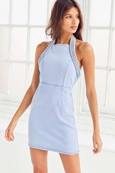 Minkpink Double Dutch Braid Halter Mini Dress Light Blue