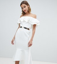 River Island Off The Shoulder Midi Dress With Belt Detail In Ivory Cream