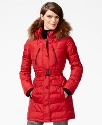 Bar Iii Faux Fur Hood Belted Puffer Coat Red