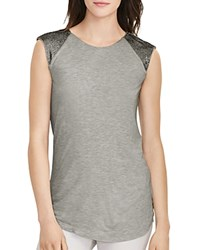 Ralph Lauren Beaded Cap Sleeve Tee Platinum Heather