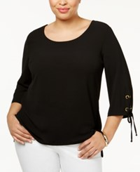 Ny Collection Plus Size Lace Up Sleeve Top Black