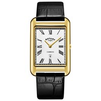 Rotary 'S Cambridge Date Leather Strap Watch Black White Gs05283 01