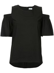 Estnation Frill Sleeve Cold Shoulder Top Women Polyester 38 Black