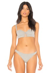 Kendall Kylie Jersey Laced Balconette Bra Gray