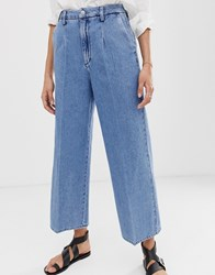 Selected Femme Wide Leg Cropped Jeans Blue