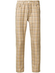 Sunnei Checked Straight Leg Trousers Nude And Neutrals