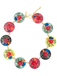 Kenzo Vintage 'Roses' Choker Necklace Red