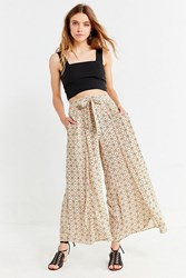 Urban Outfitters Uo Tile Print Wide Leg Pant Ivory