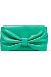 Red V Gathered Leather Clutch Jade