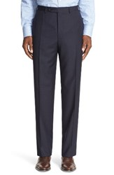 Canali Men's Big And Tall Flat Front Check Wool Trousers Navy