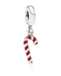 Pandora Design Pandora Dangle Charm Sterling Silver And Enamel Candy Cane Moments Collection Silver Red