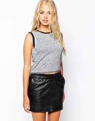 Influence Knitted Sleeveless Top With Contrast Piping Grey