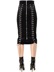 Antonio Berardi Lace Up Stretch Cotton And Silk Skirt